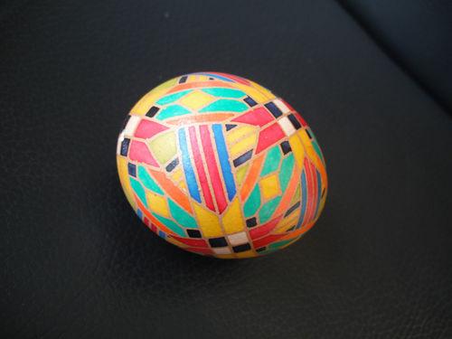Chicken egg, wax resist, aniline dye