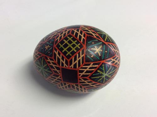 Chicken egg, wax resist, aniline dye, permanent ink