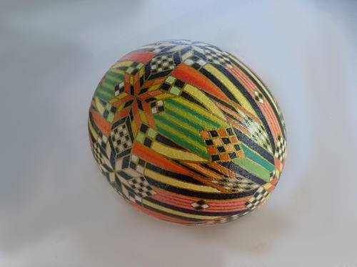 Ostrich egg, oil paint