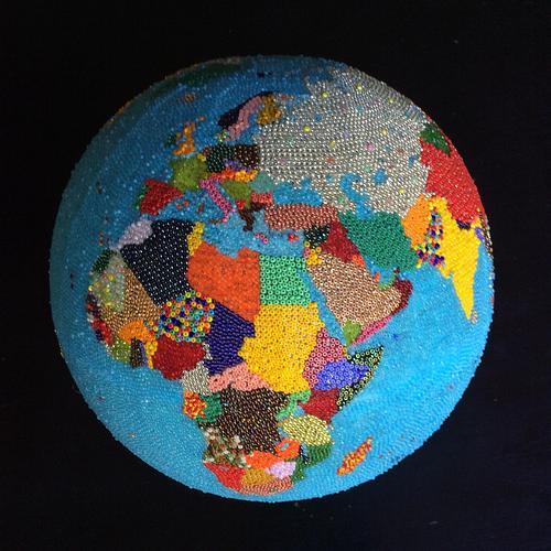 "Beaded 9"" 1963 world globe"