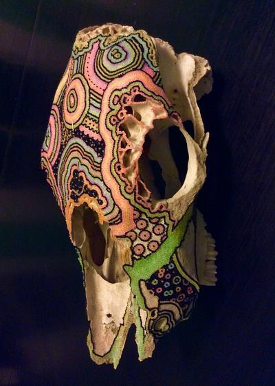 Cow skull, beaded