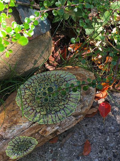 lichen, beaded rock