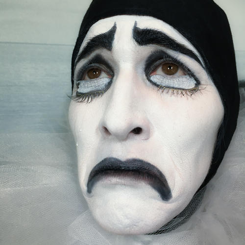 B&W costume and makeup, Pierrot the sad clown