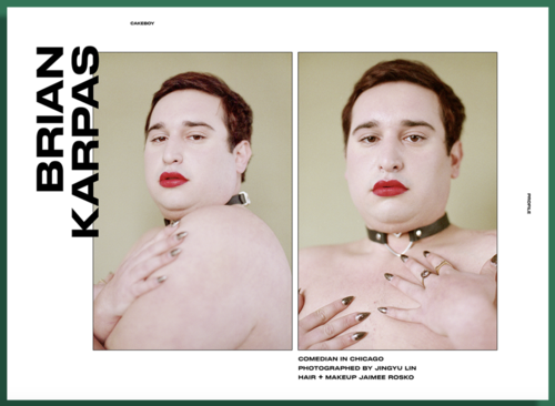 Hair and Makeup on Chicago Comedian Brian Karpas for CakeBoy Magazine
