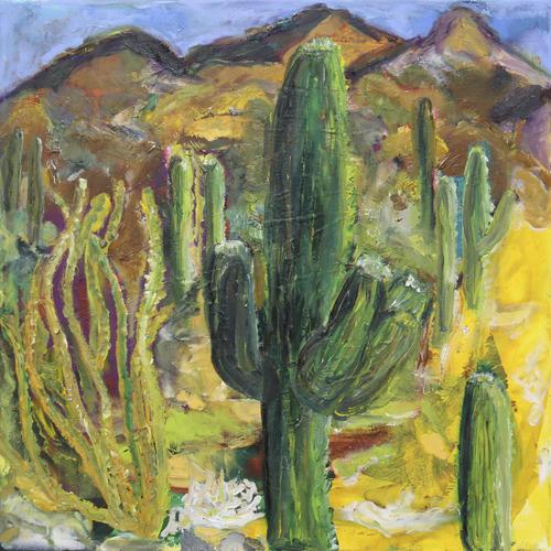Wüstenerfahrung II, amerikanischer Südwesten, 2018, Wachs, Acryl - und Ölfarben auf Leinwand, 50 x 50