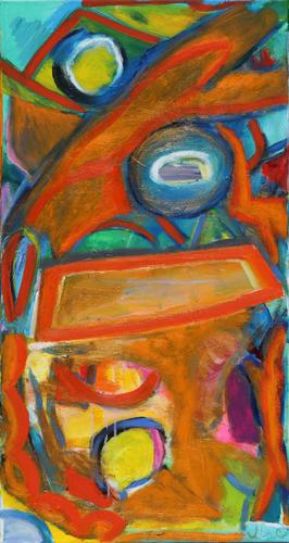 composition with orange II, 2018, Acryl - und Ölfarben auf Leinwand, 40 x 80