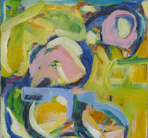 Blumenbeet, 2018, Acrylfarben und Acrylgel auf Leinwand, 70 x 70