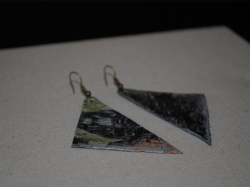Recylced plastic earrings, € 15,00