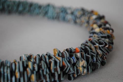 Puzzle & waxcord necklace, € 60,00