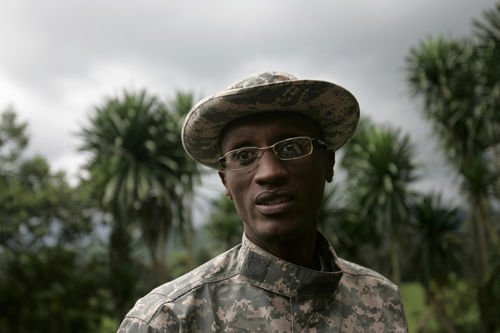 Rebel leader Laurent Nkunda stand at his base in Tebero,, Thursday, Nov. 6, 2008 north of Goma in eastern Congo.
