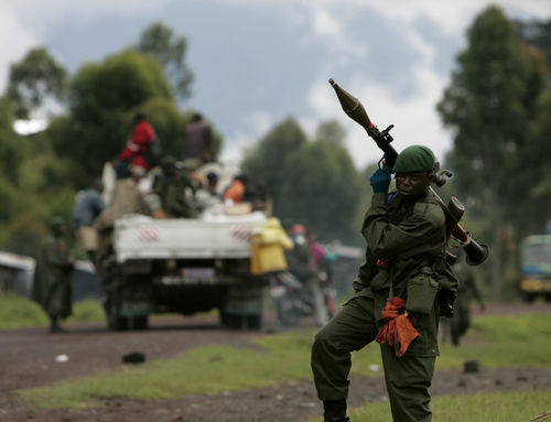 A Conglese goverment soldier man a checkpoint at the front line, Monday, Nov. 10, 2008 near Kibati just north of Goma in eastern Congo.