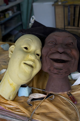 "Puppets can be seen in the workshop at the GoDown Arts Centre , 26 February 2013 where the satirical television program, The XYZ Show is produced. A satirical television program, The XYZ Show comments on current political and social affairs in Kenya through the use of latex puppets resembling prominent figures.On The XYZ Show, national leaders in Kenya are lampooned with the purpose of using humour to address difficult and controversial national issues while promoting transparency in government.  The XYZ Show is modelled after the UK's ""Spitting Image"" and France's ""Les Guignols de L'Info"" television programs.Picture/Karel Prinsloo"