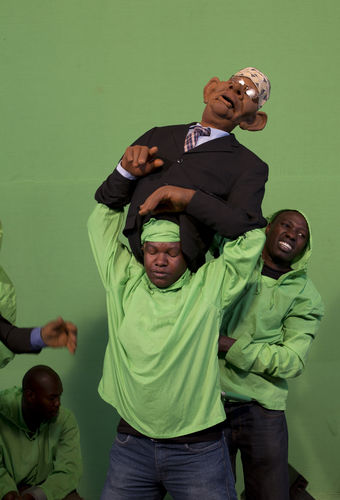 "A puppeteer react from the effort of working with puppets at the GoDown Arts Centre , 26 February 2013 where the satirical television program, The XYZ Show is produced. A satirical television program, The XYZ Show comments on current political and social affairs in Kenya through the use of latex puppets resembling prominent figures.On The XYZ Show, national leaders in Kenya are lampooned with the purpose of using humour to address difficult and controversial national issues while promoting transparency in government.  The XYZ Show is modelled after the UK's ""Spitting Image"" and France's ""Les Guignols de L'Info"" television programs.Picture/Karel Prinsloo"