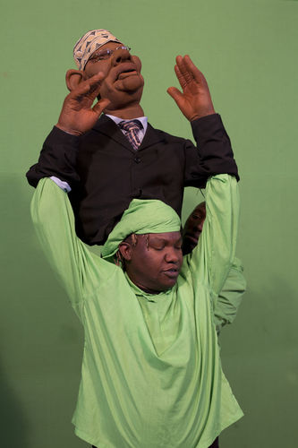 "A puppeteer practice his moves ahead of shooting at the GoDown Arts Centre , 26 February 2013 where the satirical television program, The XYZ Show is produced. A satirical television program, The XYZ Show comments on current political and social affairs in Kenya through the use of latex puppets resembling prominent figures.On The XYZ Show, national leaders in Kenya are lampooned with the purpose of using humour to address difficult and controversial national issues while promoting transparency in government.  The XYZ Show is modelled after the UK's ""Spitting Image"" and France's ""Les Guignols de L'Info"" television programs.Picture/Karel Prinsloo"