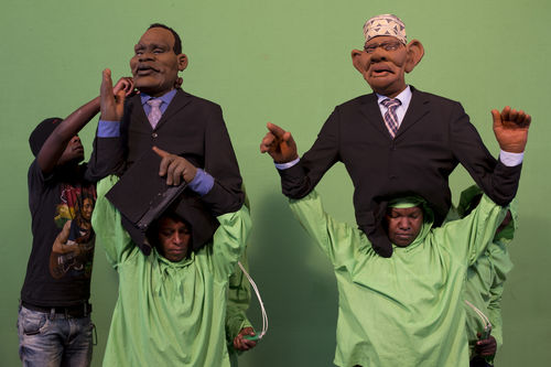 "Puppeteers work with puppets at the GoDown Arts Centre , 26 February 2013 where the satirical television program, The XYZ Show is produced. A satirical television program, The XYZ Show comments on current political and social affairs in Kenya through the use of latex puppets resembling prominent figures.On The XYZ Show, national leaders in Kenya are lampooned with the purpose of using humour to address difficult and controversial national issues while promoting transparency in government.  The XYZ Show is modelled after the UK's ""Spitting Image"" and France's ""Les Guignols de L'Info"" television programs.Picture/Karel Prinsloo"