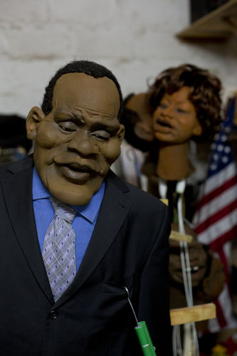 "A puppet depicting US President Barack Obama is seen in the wardrobe department at the GoDown Arts Centre , 26 February 2013 where the satirical television program, The XYZ Show is produced. A satirical television program, The XYZ Show comments on current political and social affairs in Kenya through the use of latex puppets resembling prominent figures.On The XYZ Show, national leaders in Kenya are lampooned with the purpose of using humour to address difficult and controversial national issues while promoting transparency in government.  The XYZ Show is modelled after the UK's ""Spitting Image"" and France's ""Les Guignols de L'Info"" television programs.Picture/Karel Prinsloo"