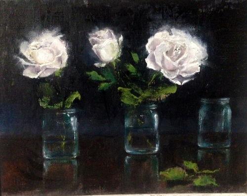 White roses trio