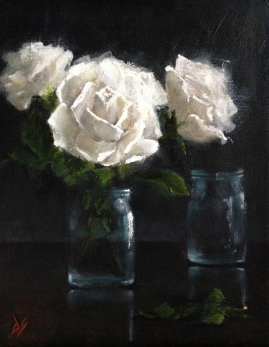 Serenity - White roses and jars