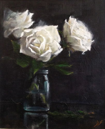 Purity - white roses in jam jar