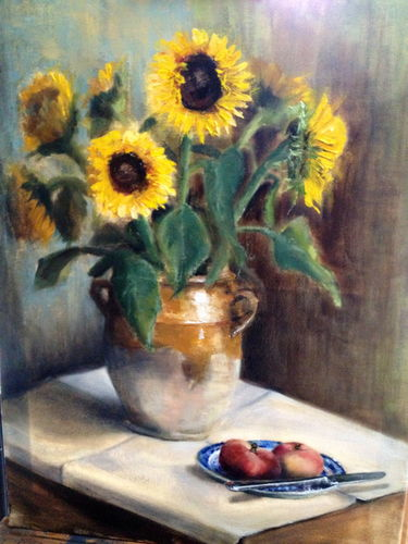 Sunflowers and peaches