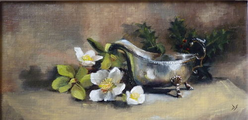 Silver jug and hellebores