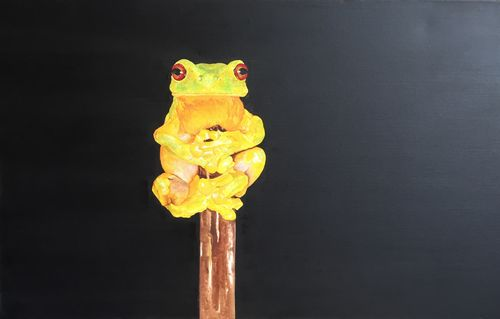 Frog on a Stick (24x16x4 inches) Oil on Canvas 2006