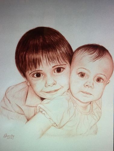 Portrait of Brother & Baby Sister (18x14 inches) Graphite on Paper 2012