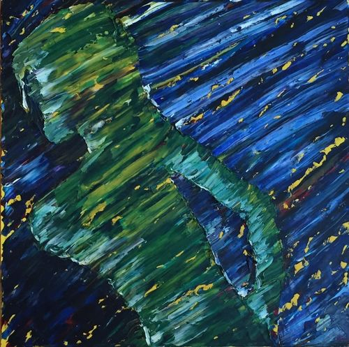 Self Profile Running (36x36x1.5 inches) Oil on Canvas 2005