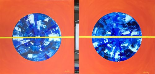 Blue Orange Square (2 of 24x24x1.5 inches) Acrylic on Canvas 2015