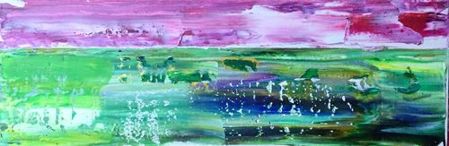 Sunset Swamp (24x8x1.5 inches) Acrylic on Canvas 2015