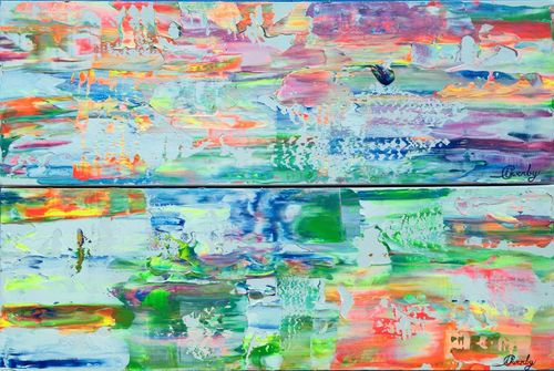 Sunrise & Sunset Lake (Set of 2 - 24x8x1.5 inches) Acrylic on Canvas 2016