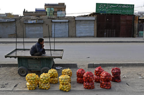An Afghan boy waits for customers as he sells apples at a roadside in Kabul