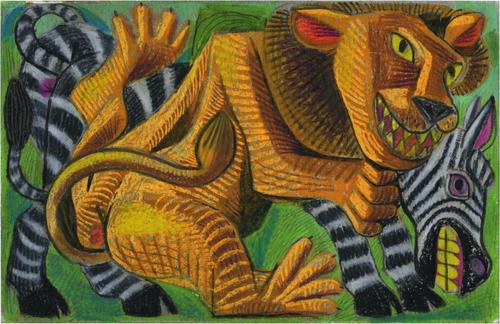 Lion Attacks Zebra