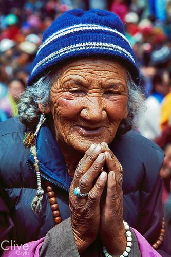 Old lady at the Hemis Gompa, Ladakh.