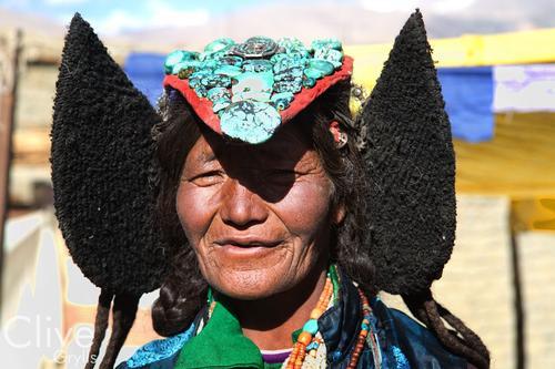Local lady wearing a traditional 'Perak' hat at Korzok, Ladakh.
