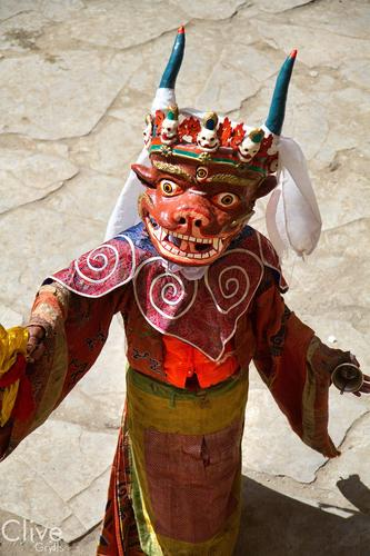 Ceremonial dance 'cham' being performed at the Korzok Gustor festival, Ladakh.