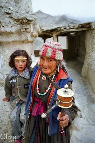 Lady and child at Korzok, Ladakh.