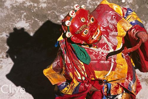 Ceremonial dance 'cham' being performed at the Phyang Temple TseDup festival, Ladakh.