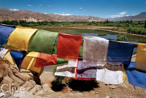 Prayer flags flutter in the breeze in front of the Shey castle and temple. Ladakh.
