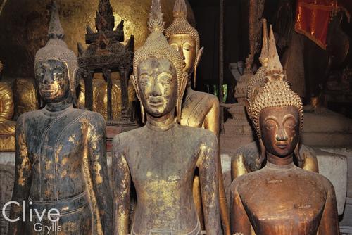 Idols in the Wat Wisunalet temple, Luang Prabang.