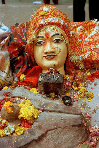 Religious idols and icons for sale at the Kumbh Mela festival, Madhya Pradesh.