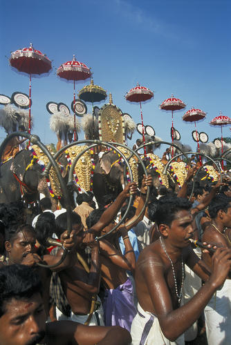 Traditional musicians performing at the annual Pooram festival. Thrissur, Kerala.