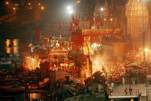 Devotees performing at the 'Ganga Seva Nidhi' festival held on the Dashashwamed ghat. Varanasi, Uttar Pradesh.