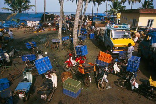Traders waiting for fish stocks to be delivered close to close to Alappuzha, Kerala.