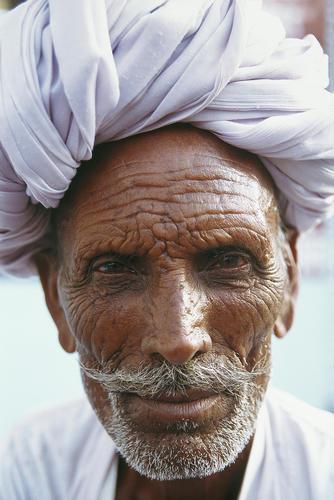 Man in traditional Rajasthani turban, Pushkar, Rajasthan.