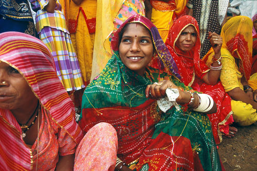Young bride waiting to be married in Pushkar, Rajasthan.