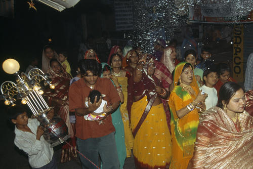 Night time weeding ceremony in the streets of Pushkar, Rajasthan.
