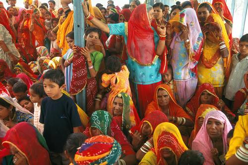 Relatives at a Hindu wedding held in Pushkar, Rajasthan.