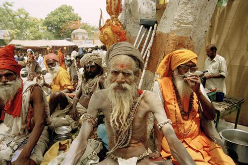 Sadhus enjoying tea and a smoke at the Kumbh Mela festival held in Ujjain, Madhya Pradesh.
