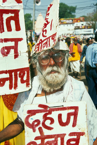 A one-man protest at the Kumbh Mela festival. Ujjain, Madhya Pradesh.